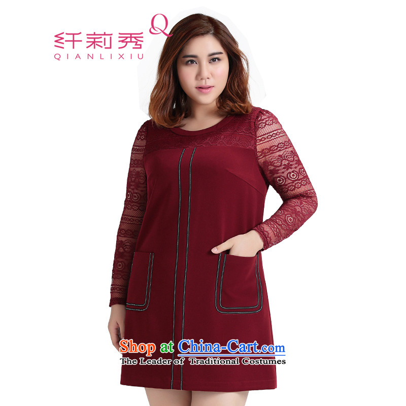 The former Yugoslavia Li Sau 2015 Fall_Winter Collections new larger female round-neck collar knocked dyed with lace stitching long-sleeved dresses�39爓ine red�L