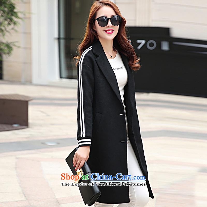 8Pak won in autumn and winter version long hair black燲L female coat?