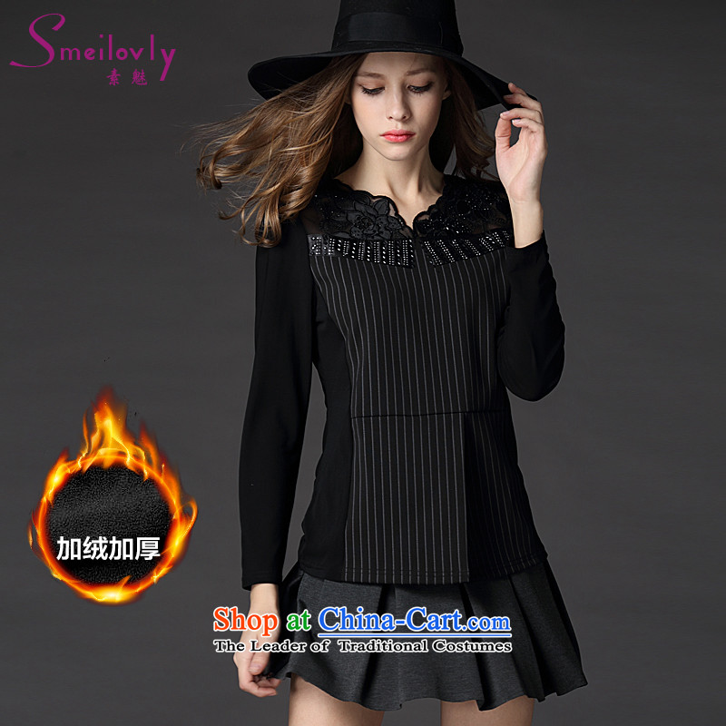 The Director of the women's large long-sleeved T-shirt 2015 winter clothing new mm thick western style engraving gauze stitching graphics plus forming the lint-free shirt thinblack large code 5XL 1230 around 922.747 200