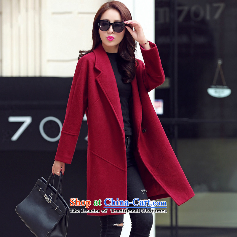 Sin has?new winter 2015 stylish look of Sau San Korean video thin solid color in warm longer reverse collar gross? coats female wine red?   XL