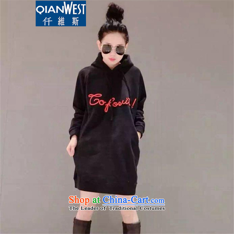 The Scarlet Letter, larger female thick mm long in the Autumn and Winter Sweater skirt2015 Autumn New) thick sister plus extra thick wool sweater dresses 392 Black2XLrecommended weight 120-140 catty