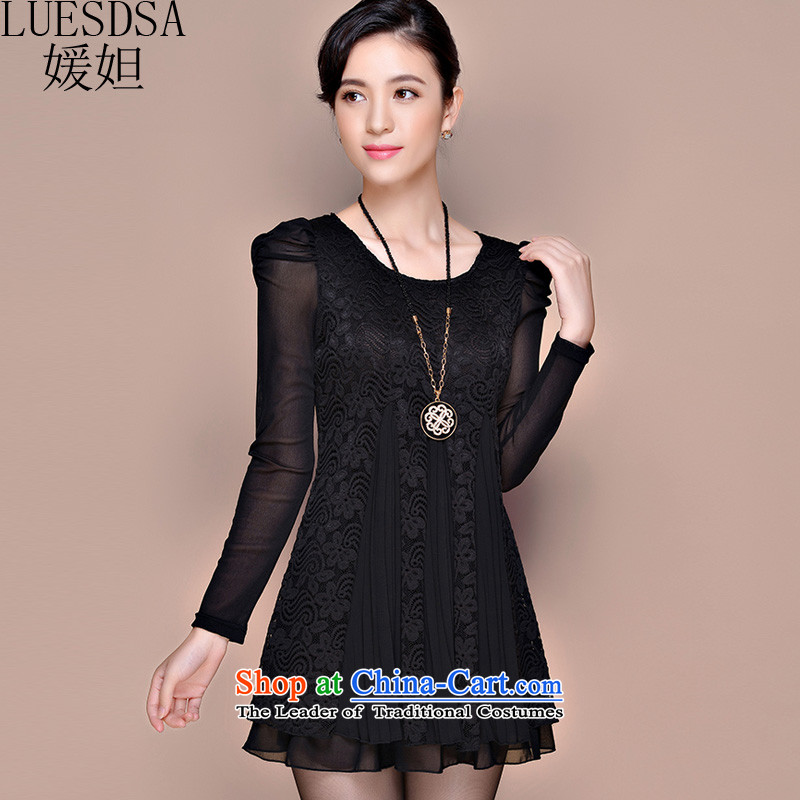 Yuan slot in the 2015 winter clothing new Korean version of large numbers of ladies Foutune of thin lace plus video lint-free in the thick long warm forming the dresses YD690 black�L