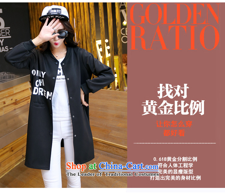 Song Of Yue XL 2015 autumn and winter the new Europe and the large number of ladies thick MM stamp Sau San Cardigan Wind Jacket Y1609 black4XL(160_180 catty) Picture, prices, brand platters! The elections are supplied in the national character of distribution, so action, buy now enjoy more preferential! As soon as possible.