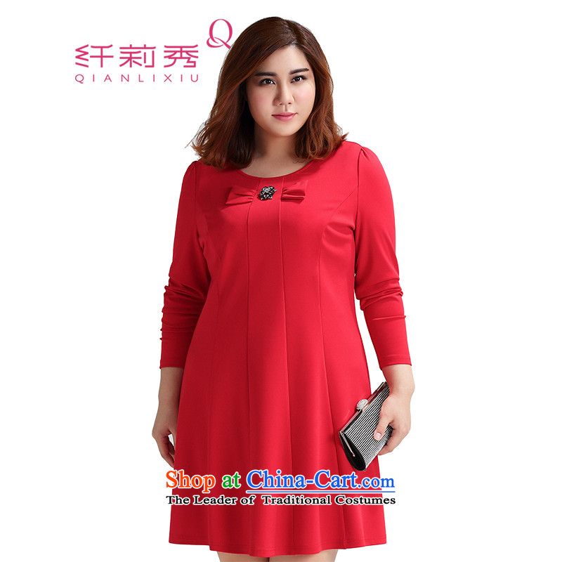 The former Yugoslavia Li Sau 2015 Fall/Winter Collections new larger female bow tie love water drilling brooches skirt (chest-pin removable) 1530 Red 4XL