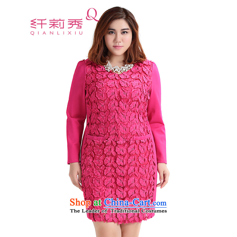 The former Yugoslavia Li Sau 2015 Fall_Winter Collections new larger female mahogany and V-Neck stereo embroidery stitching wild straight skirt聽the red聽3XL 1060