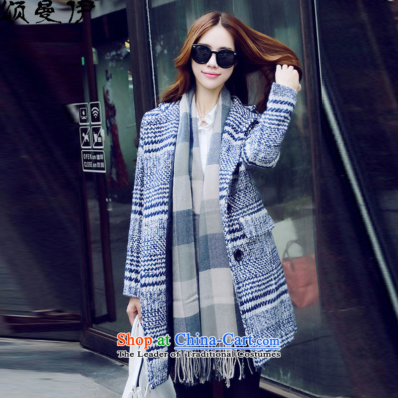 Chung Cayman El�15 autumn and winter new Korean version plus obesity large mm female latticed gross? a jacket coat�621燽lue and white燲XXL.