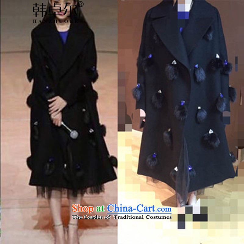 Korea's 2015 autumn and winter a wool coat Guo beautying stars with long hair_? jacket Q416 black燬