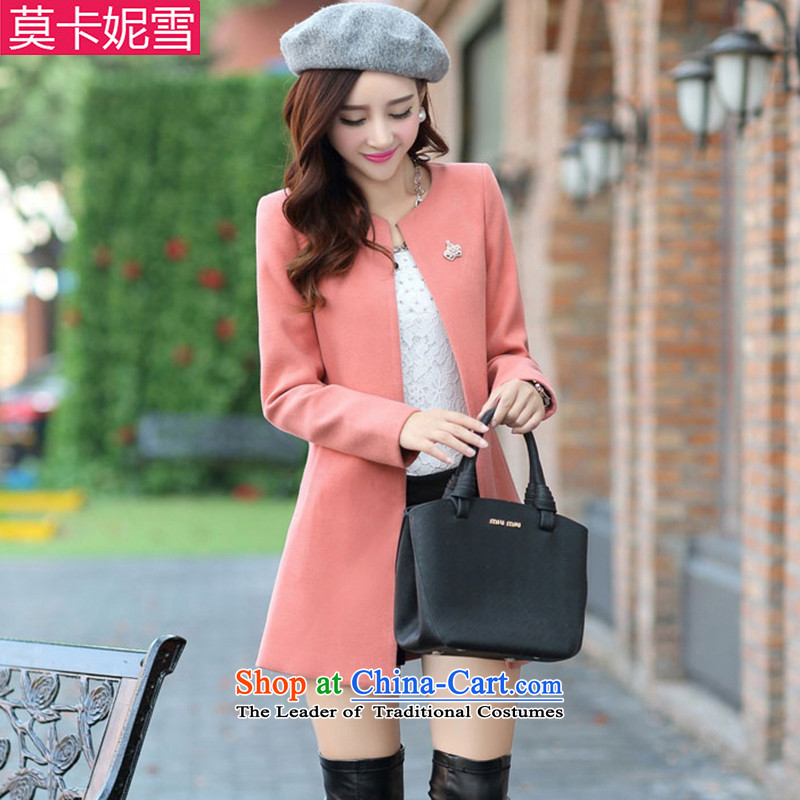 Morcar Connie snow 2015 autumn and winter new Korean version of larger? female coats cardigan windbreaker pinkL