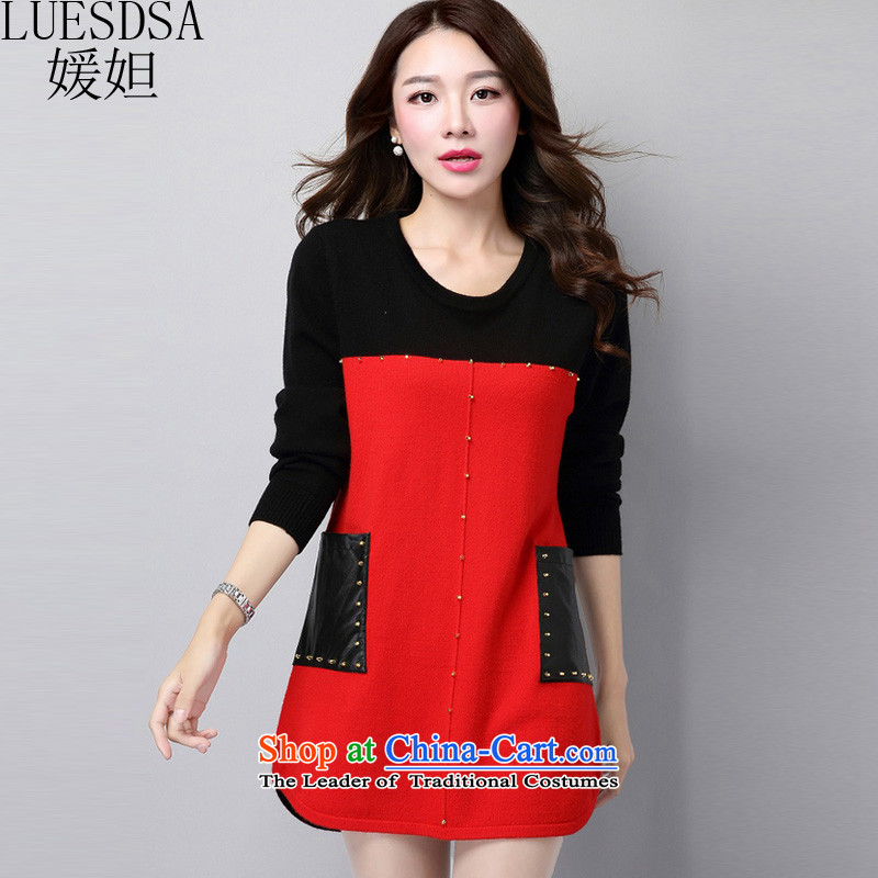 Yuan slot in the 2015 Fall/Winter Collections new thick mm plus hypertrophy of ladies' knitted shirts, loose video forming the thin sweater dresses YD691 red XXL