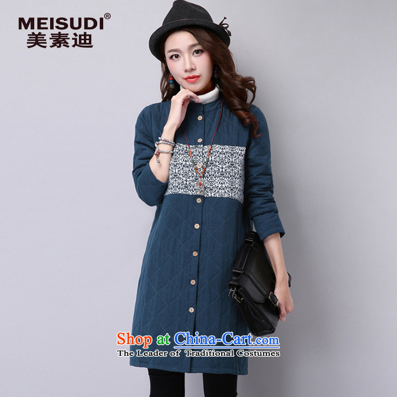 2015 Autumn and Winter Korea MEISUDI version of large numbers of ladies arts van ethnic thick warm relaxd graphics thin wild in long jacket coat navy燲L
