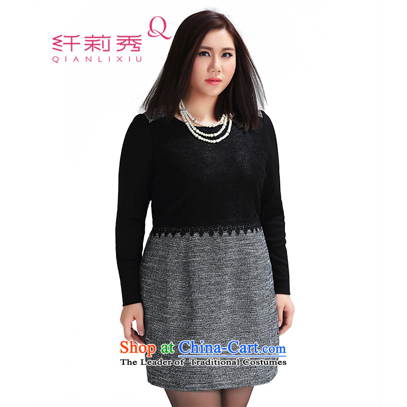 The former Yugoslavia Li Sau 2015 Fall_Winter Collections new larger female thick MM round-neck collar lace stitching stretch long-sleeved dresses 0939 Sau San�L black