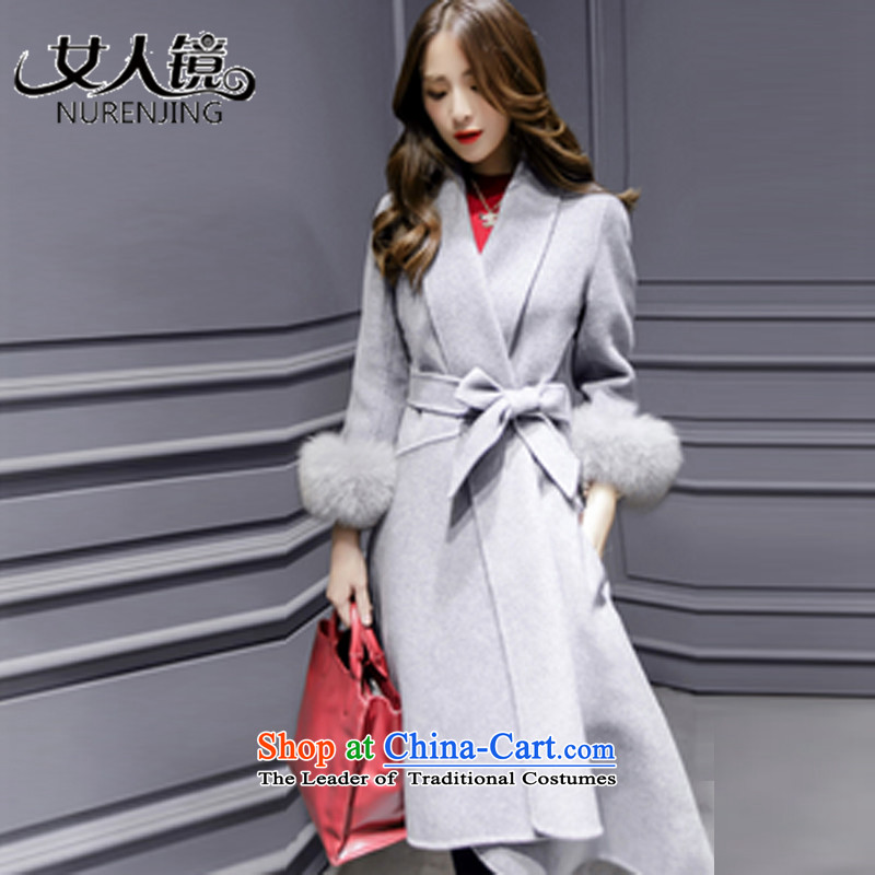 Women聽2015 winter new mirror聽v-neck in the autumn and winter coats of Sau San Mao?? jacket _T9130 m Gray聽S