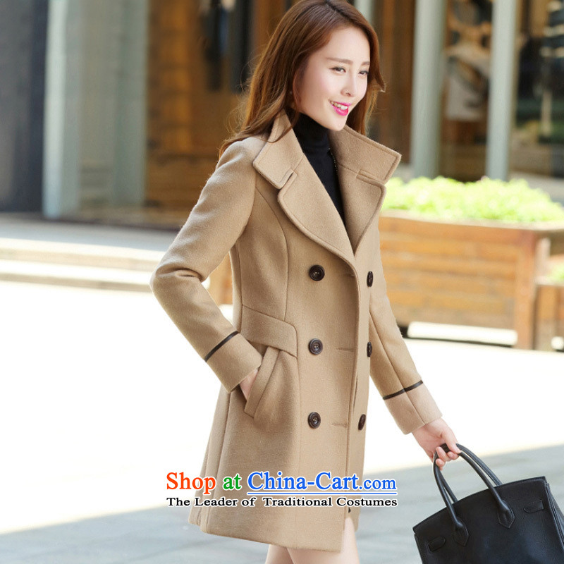 8Pak 2015 winter clothing new women's stylish thick hair? jacket khakiM