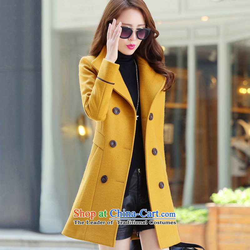 8Pak 2015 winter clothing new women's stylish thick hair? jacket yellow燣