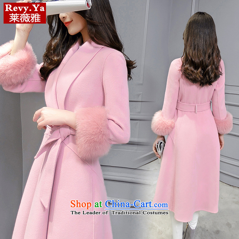 Tony Blair,聽2015 autumn and winter new Korean version v-neck in a wool coat long hair? large Sau San jacket rouge toner聽S