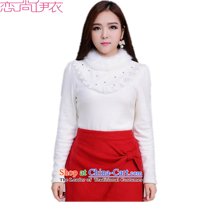 C.o.d. thick T-shirt Solid Color 2015 new winter clothing rabbit wool high collar warm winter plus forming the lint-free Netherlands lace shirt thick Mei larger thermal underwear5XLapproximately 180-200 jin White