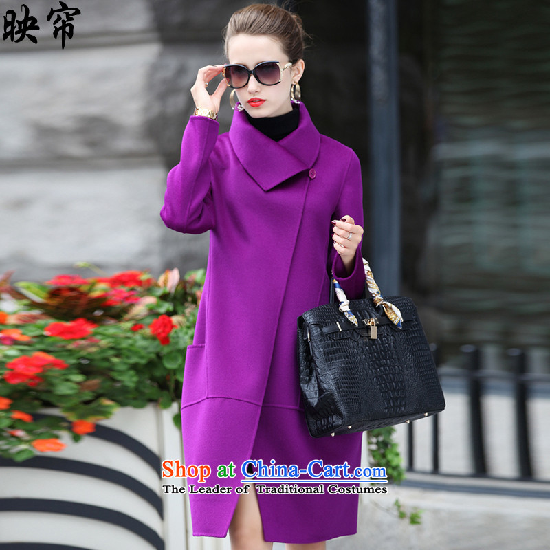 Image curtain fall and winter 2015 new women's double-sided gross_ is decorated jacket y288_? purple L
