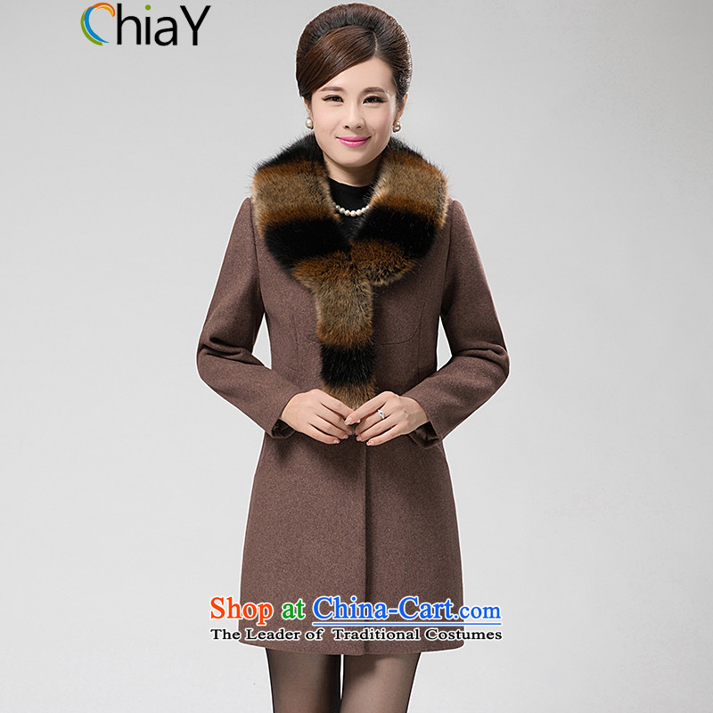 2015 winter clothing new chiay gross Women's jacket? Korea version for large thin hair in long woolen coat light card its XL