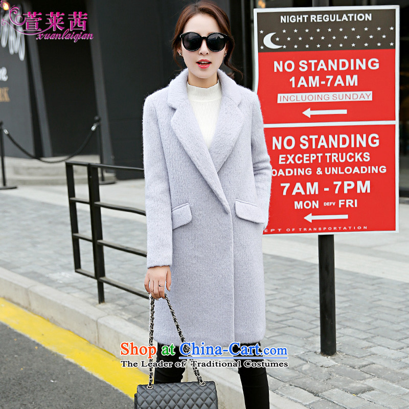 Xuan, Mrs Ure 2015 autumn and winter new minimalist in long wool coat?   Ms. video thin single row clip hair? Jacket Gray燣