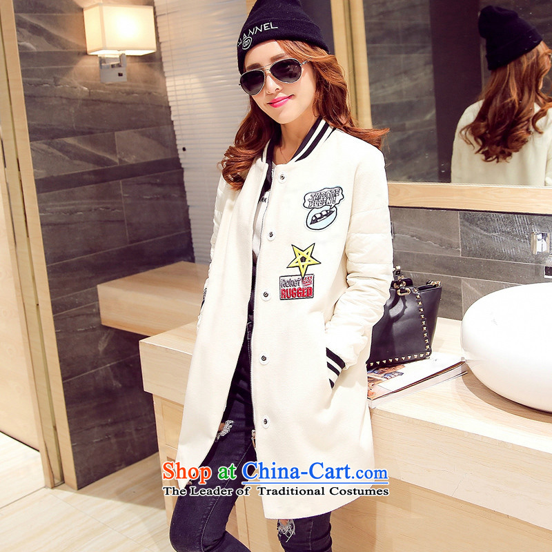 Sin has been gross girls jacket? Long Korean video thin stylish and cozy Sau San stitching long-sleeved a wool coat WhiteM
