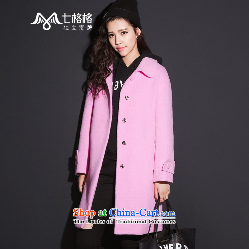7 Huan 2015 autumn and winter new high-street-side marker single row detained women S purple coat?