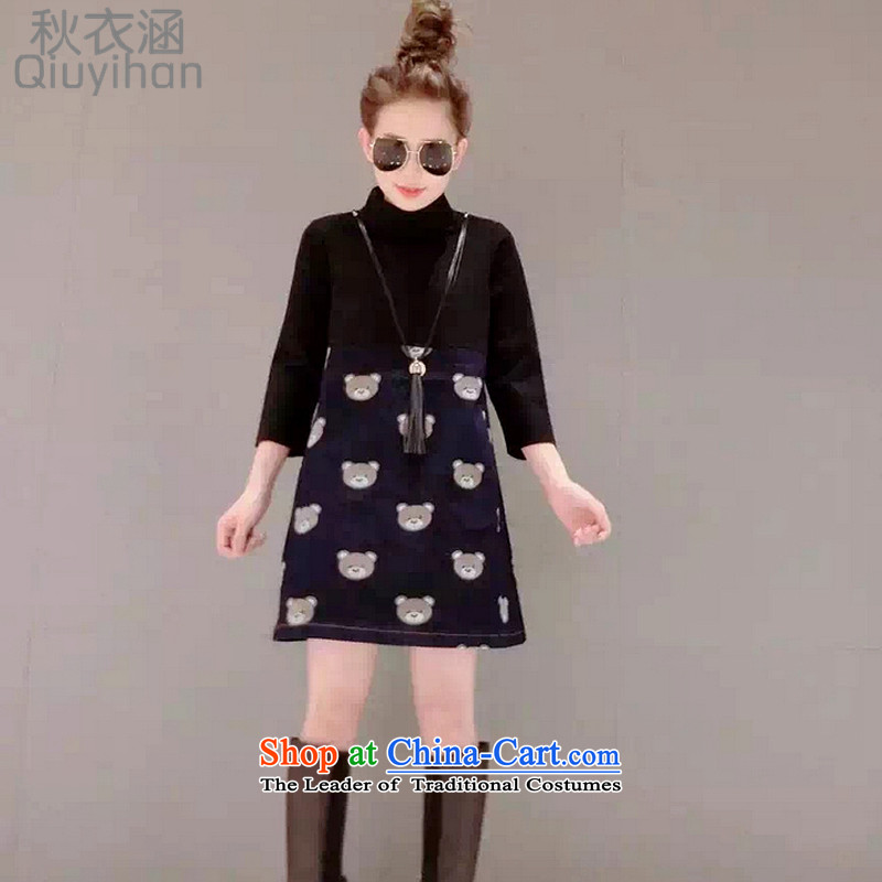 Adam Cheng Yi covered by 2015 autumn and winter in the new stamp Korean skirt stitching cowboy relaxd dress autumn graphics thin female 389 picture color XXXL