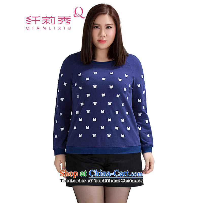 The former Yugoslavia Li Sau 2015 Fall/Winter Collections of New Large Fat MM long-sleeved blouses and embroidered head knitwear female 0707 possession blue 2XL
