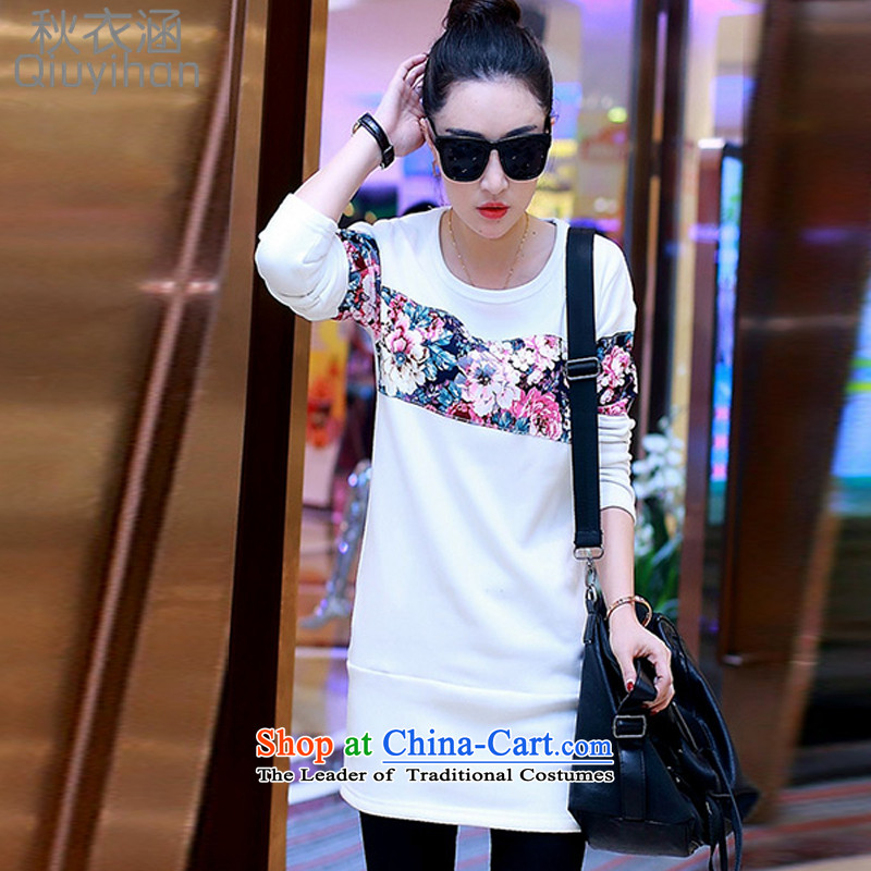 Adam Cheng Yi covered by the2015 autumn and winter new stitching Korean thick not lint-free long-sleeved T-shirt, long-sleeved clothes of the Sau San small, thin women0204 GraphicswhiteXXXL