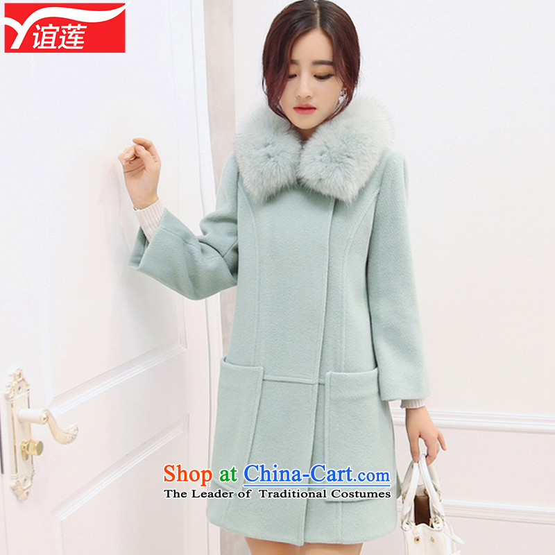 Yi Wu 2015 winter clothing new Korean girl in gross? jacket long Sau San Fox Nagymaros collar cashmere a wool coat female Y532 picture color XL