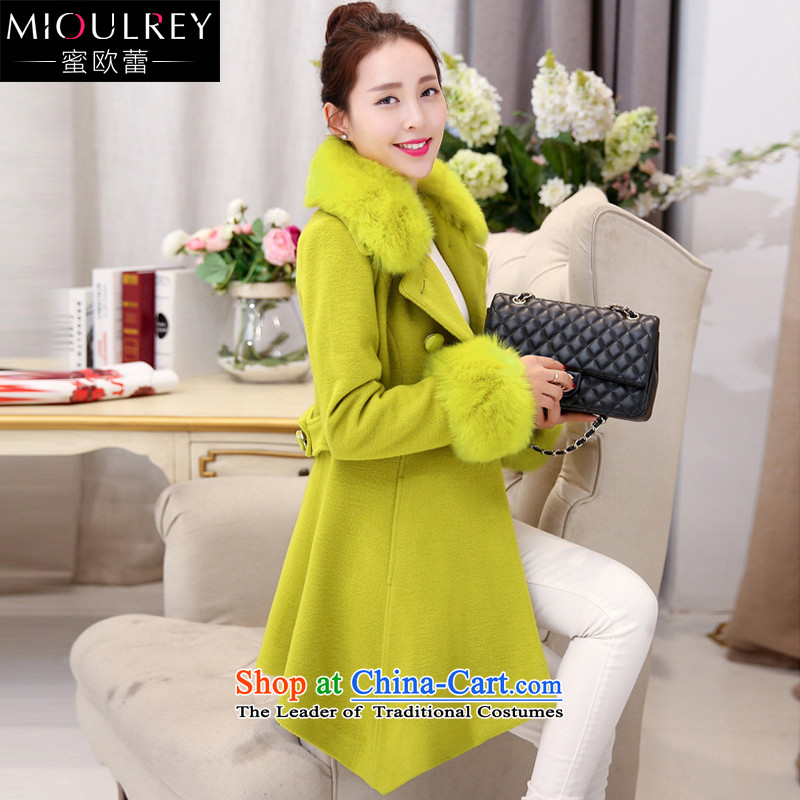 Alfa Romeo Lei 2015 winter new Korean female jacket? gross in autumn and winter long double-a wool coat with collar coats8530 fruit green� 2XL