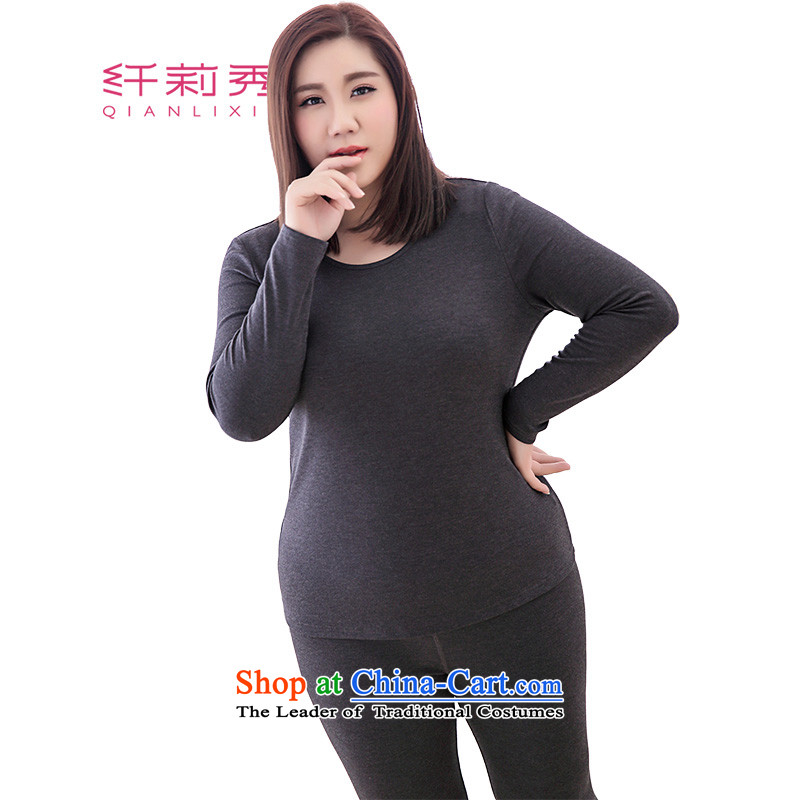 The former Yugoslavia Li Sau 2015 Fall_Winter Collections new larger female high-Fat MM round-neck collar solid color comfortable really two warm service kit 1151 Dark Gray�L