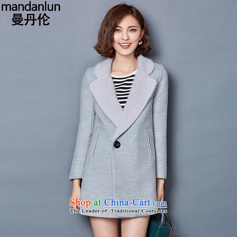 Mandan chou 2015 winter new Korean female coats gross Sau San? thick cotton folder code gross? Jacket Sable Hair suits for long a wool coat gray燲XL