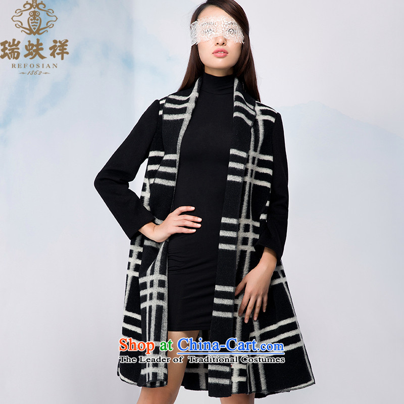 Therefore, 2015 winter new Cheung Uk wind woolen coat retro stylish and classy latticed gross? long coats 175_96A Black and White