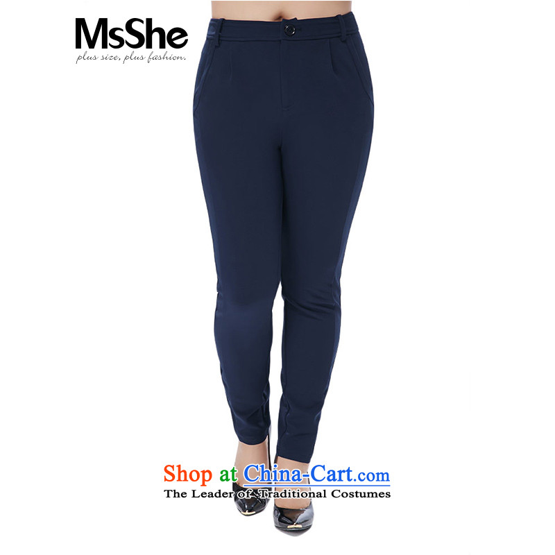 To increase the number msshe women 2015 new autumn and winter thick MM Stretch in Waist Trousers Women Sau San No. 10485 blue燭4