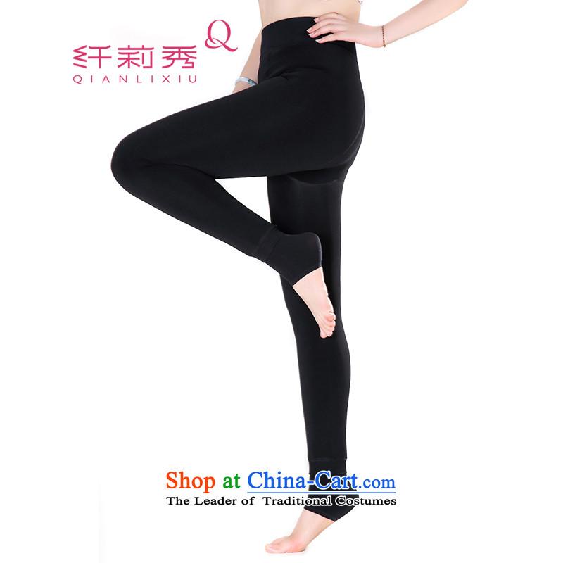 The former Yugoslavia Li Sau 2015 winter new larger female thick MM thick ultra-plush plus upshift SOCKS 9 foot trousers socks 1211 Black are for both code
