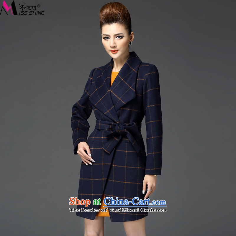 Meath Yang original tyrant and 2015 autumn and winter coats new gross? long-sleeved temperament lapel of Europe and latticed coats female black S