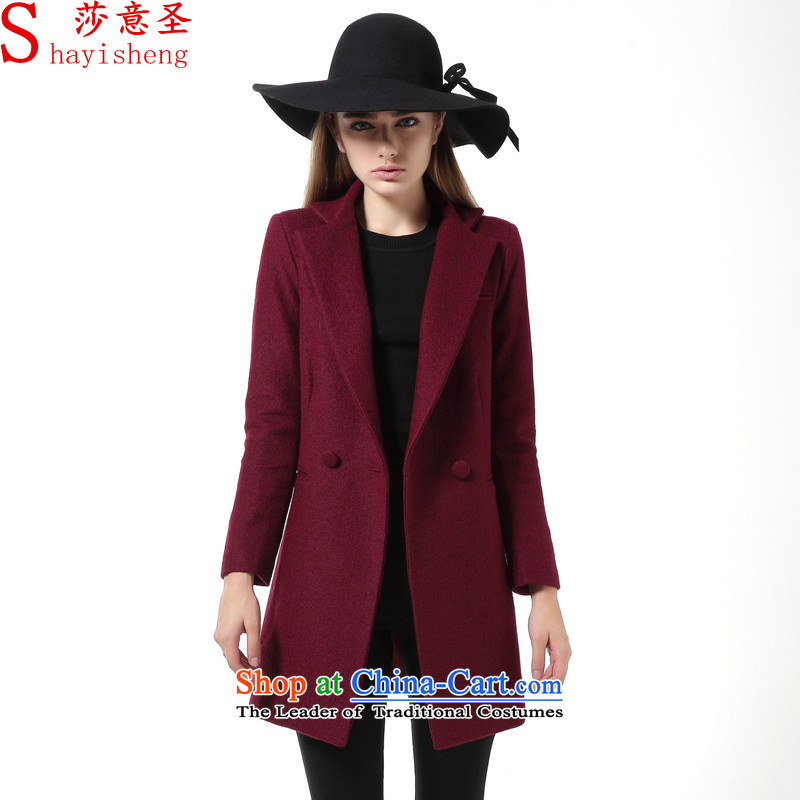Elizabeth St wool coat is intended in the female_? long jacket female clamp unit sub-thick autumn and winter, SY588030 wine red clip cottonM