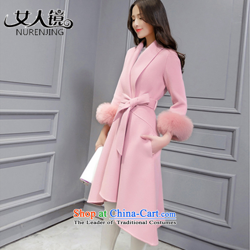 Women�15 winter new mirror爒-neck in the autumn and winter coats of Sau San Mao?? _T9130 rouge powder coat燣