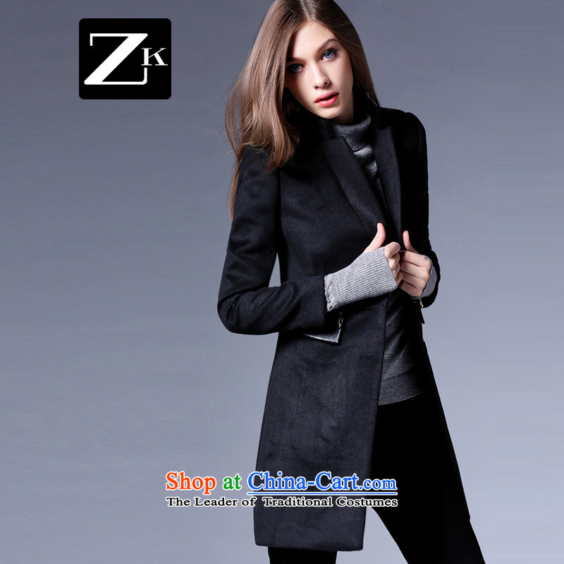 Zk Western women�15 Fall_Winter Collections New Sau San video thin western minimalist jacket in gross? Long a wool coat black燣