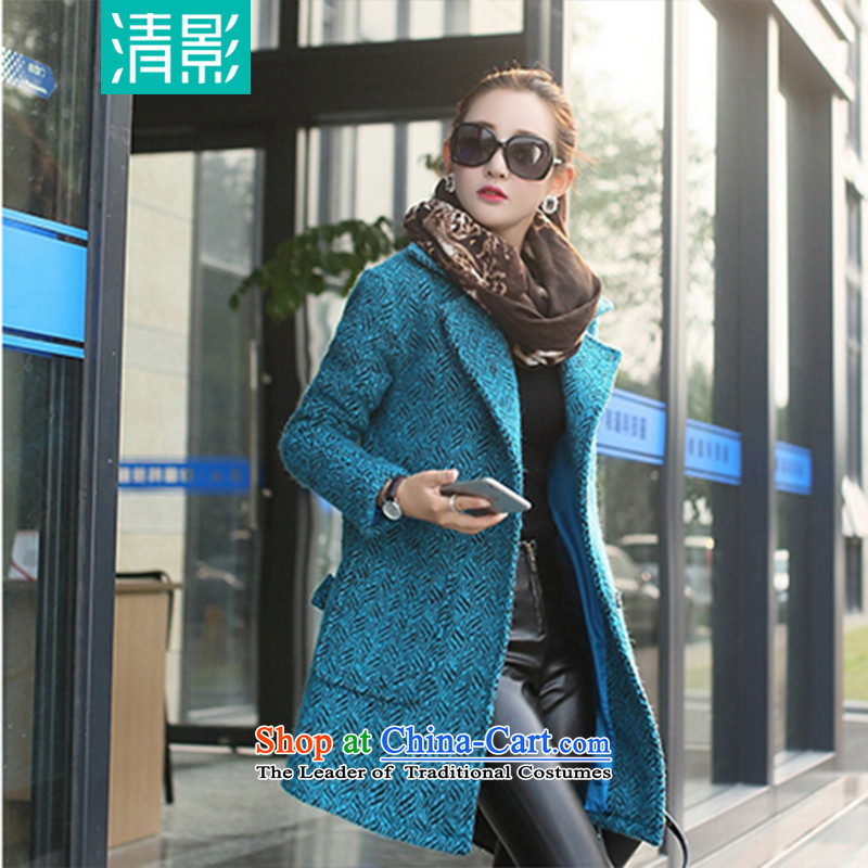 Pretty shadow gross flows in female coat? Long 2015 autumn and winter new Korean female jacket is   Gross Blue?M