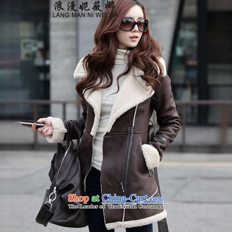 Ms Audrey EU's?2015 romantic Connie autumn and winter version won long Leisure pure color coats female gross? lapel?   The lint-free of coat skin coat jacket brown?L
