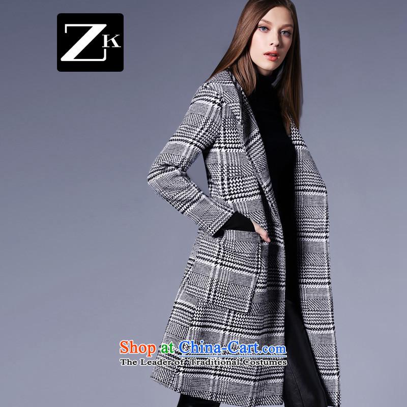 Zk Western women�15 Fall_Winter Collections new chidori of Sau San video thin hair? In long coat a wool coat cap chidori grid燤