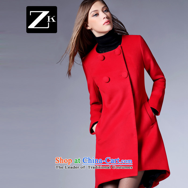 Women 2015 Fall_Winter Collections in the new round-neck collar long double-time gross? a wool coat female jacket female red燬