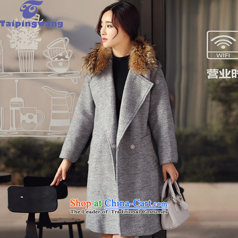 The fall of 2015 taipingwang in long hair? coats female 875 gray  M