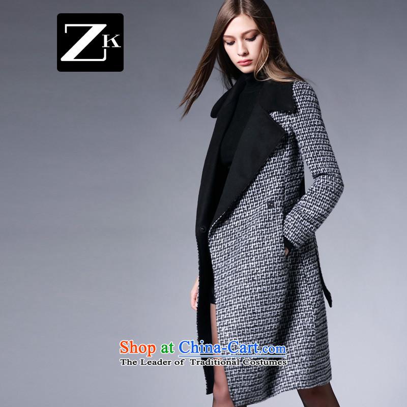 Zk Western women�15 Fall_Winter Collections new chidori. Long Large lapel gross? a wool coat female jacket coat gray燲L