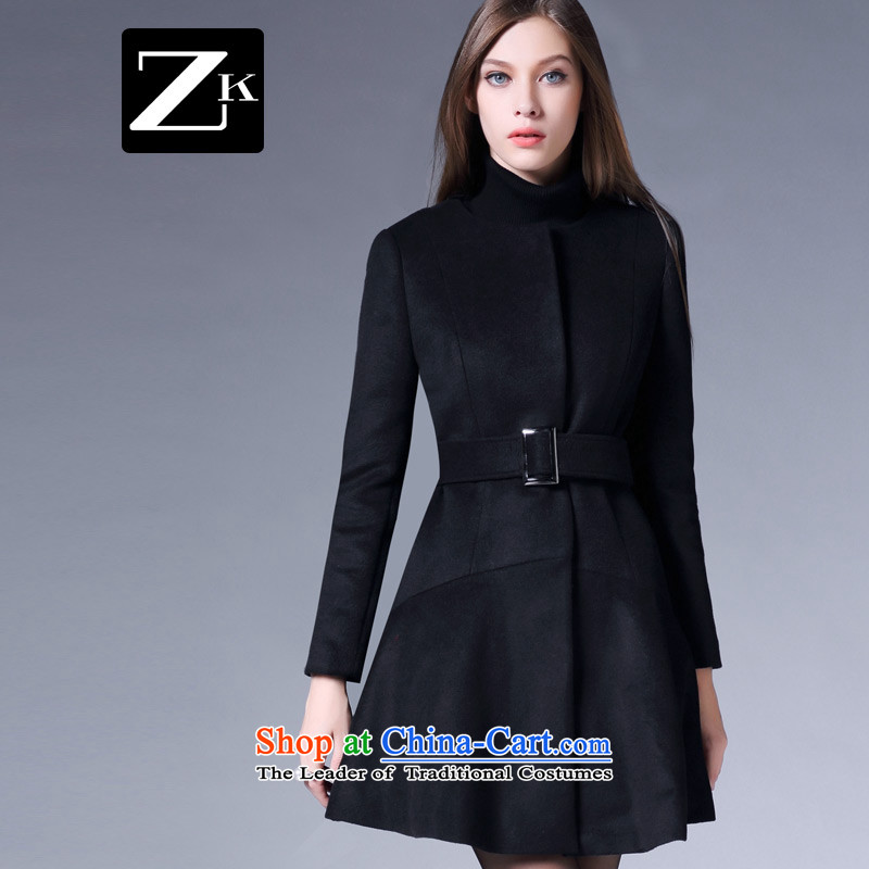 Zk Western women�15 Fall_Winter Collections new minimalist tether Foutune of gross long butted? a wool coat female black燤