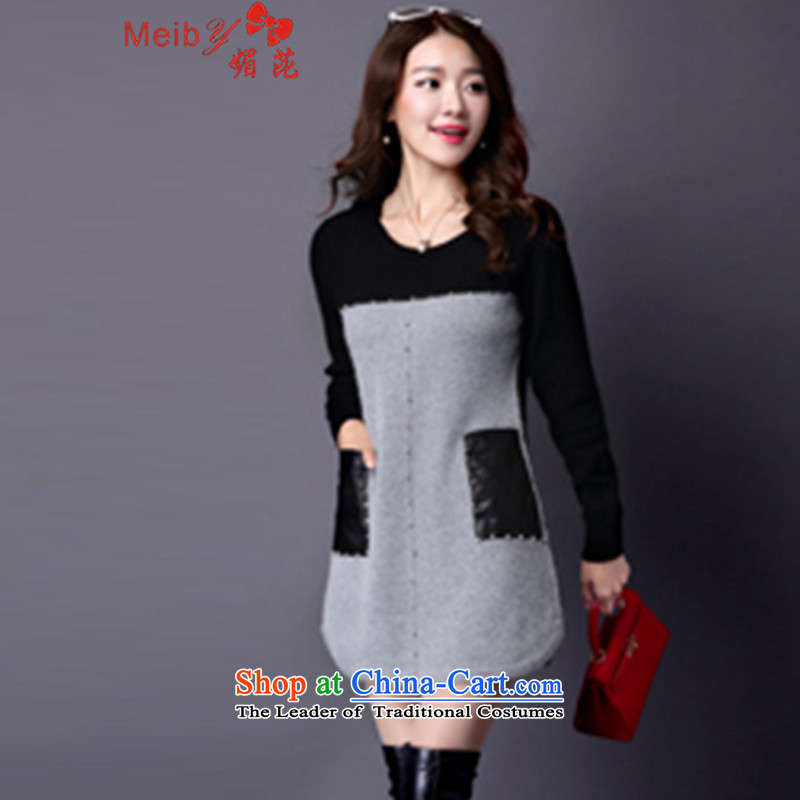 Maximum number of ladies to intensify the thick mm autumn and winter new Knitted Shirt, long-sleeved clothes loose video, forming the basis of thin sweater female 2921 New Gray 4XL