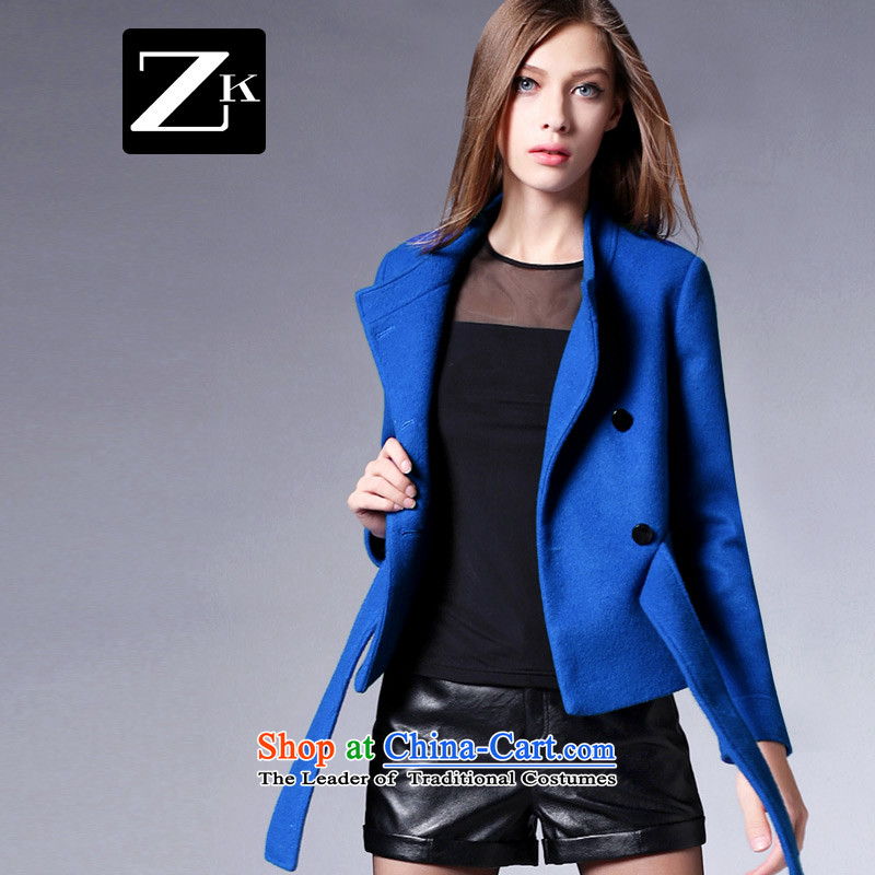 Zk Western women 2015 Fall_Winter Collections new double-gross shortage of female jacket? long-sleeved Sau San a wool coat video thin blue S