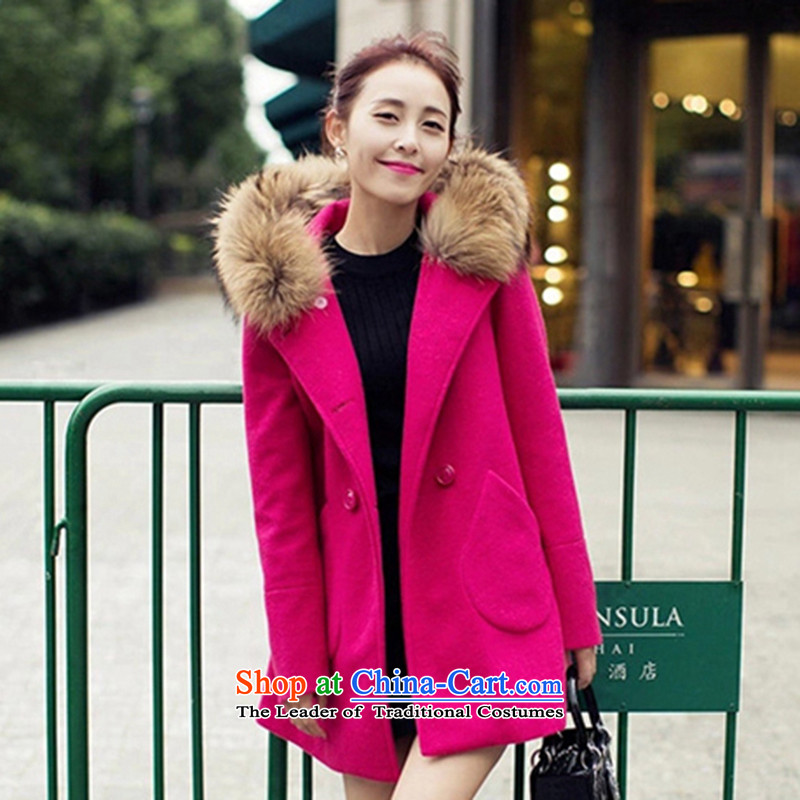 Morcar Connie snow  2015 autumn and winter new Korean fashion Sau San Mao jacket red S?