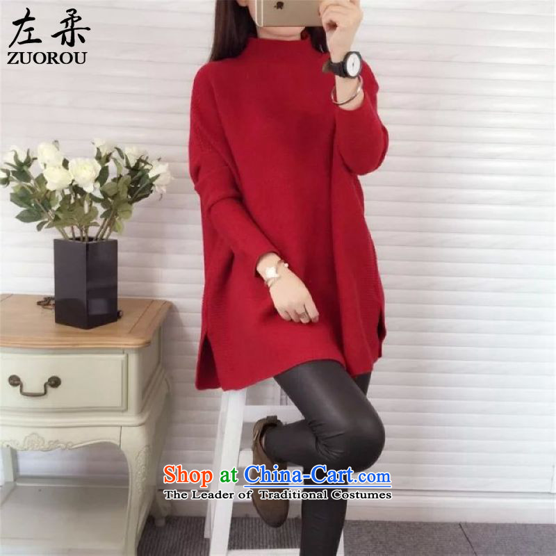 Sophie� 2015 autumn and winter left_ version version of large Korean female thick mm thin with video-semi-high collar in long loose video thin woolen pullover 200 catties better wearing a red are code